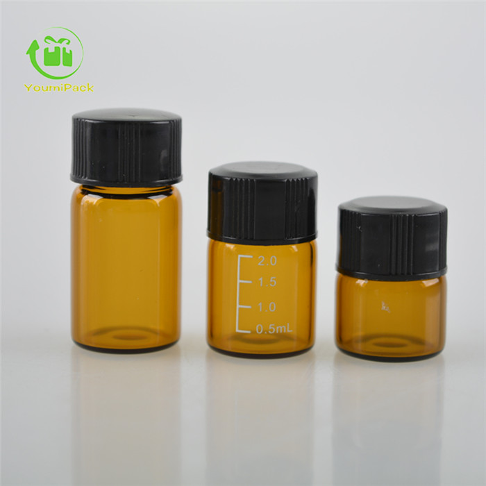 amber dram vial with black lid
