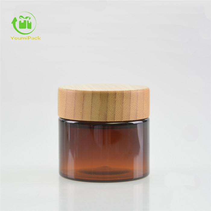 amber PET jar with bamboo lid
