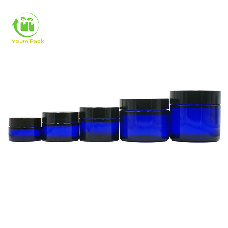 Blue Cobalt Glass Jars w/ Lined Black Phenolic Caps