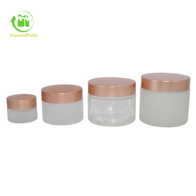 white frosted glass jar with rose gold lid