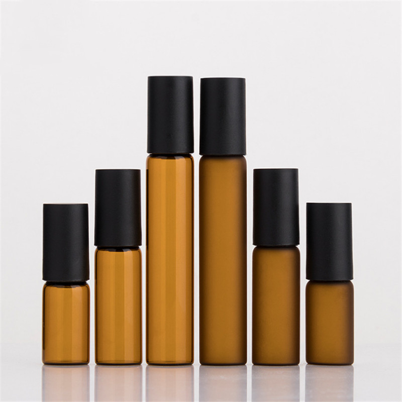 3ml 5ml 10ml amber glass roll on bottles with black cap title=