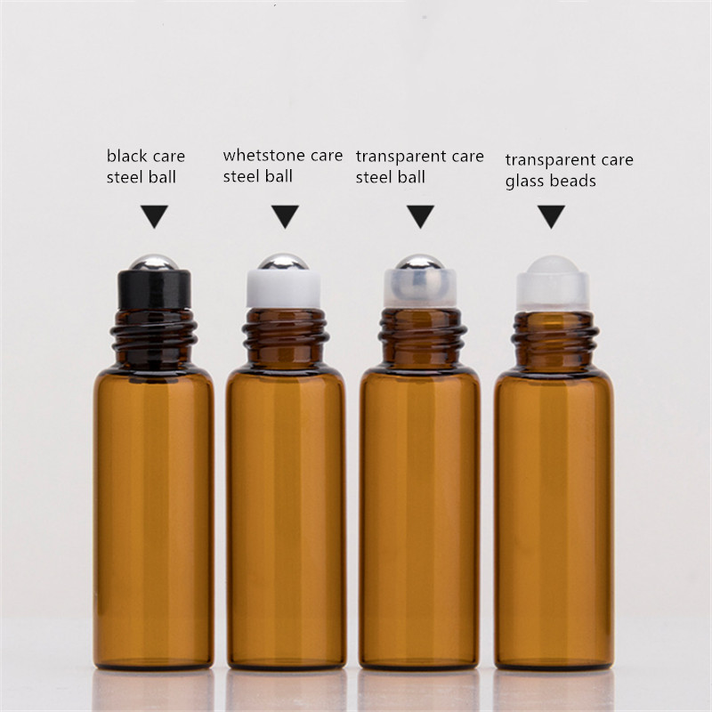 3ml 5ml 10ml amber glass roll on bottles with black cap