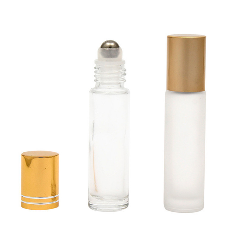 10ml frosted glass roll on bottle with golden cap